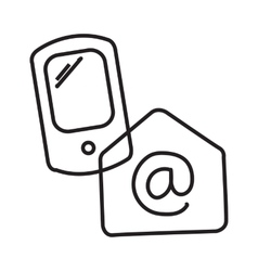 Linear phone receives mail via the Internet vector image