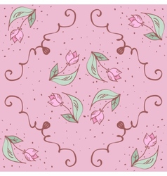pink hand drawn tulips seamless pattern Can be vector image