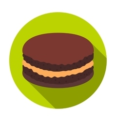 Chocolate biscuit icon in flat style isolated on vector