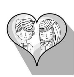 couple lover inside heart design vector image vector image