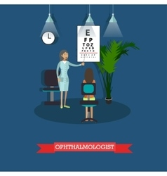 Hospital concept ophthalmologist provides medical vector
