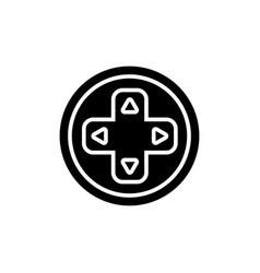 joystick round icon black vector image