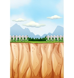 Scene with field and cliff vector image vector image