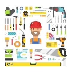 Construction equipment tools flat icons set vector image vector image
