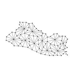 el salvador map of polygonal mosaic lines network vector image