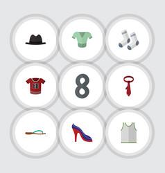 Flat icon dress set of cravat casual heeled shoe vector