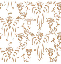 peacock minimal style seamless pattern vector image vector image