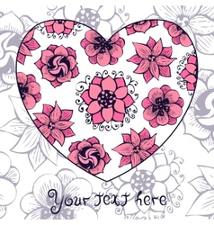 Romantic greeting card with floral heart shape vector image vector image