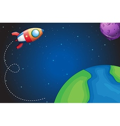 Spaceship flying over the earth vector image