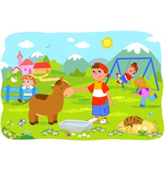 Children holidays at the mountains vector image