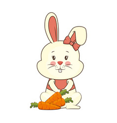 cute rabbit with carrots character icon vector image