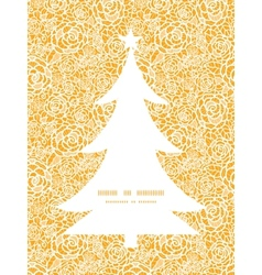 golden lace roses Christmas tree silhouette vector image vector image