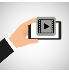 hand holding smartphone video player vector image