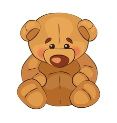 Sad teddy bear sits on a white background vector image