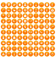 100 festive day icons set orange vector