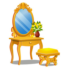 A vintage table for cosmetics stool and a mirror vector