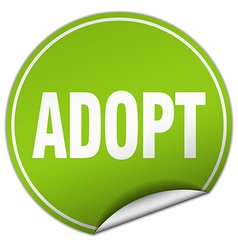 Adopt round green sticker isolated on white vector