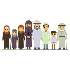 Arab happy smiling family characters vector