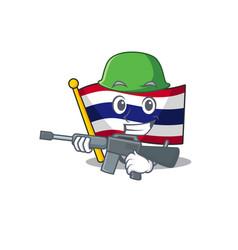 Army flag thailand cartoon on shaped mascot vector