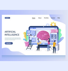 artificial intelligence website landing vector image