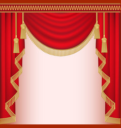 Background with red velvet curtain with tassels vector
