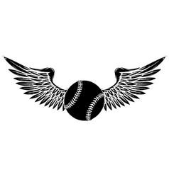 baseball ball flying with angel wings black vector image