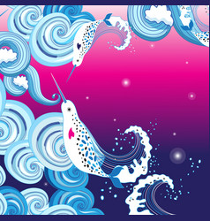 beautiful background with sea waves and narwhals vector image