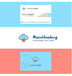 beautiful locked cloud logo and business card vector image