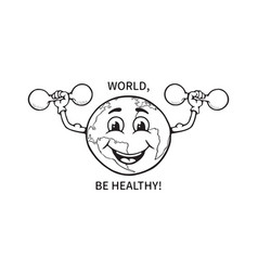 Black and white a funny cartoon earth globe vector