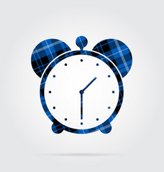 Blue black tartan isolated icon - alarm clock vector