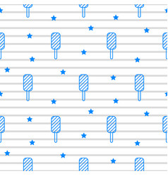 blue icecream striped line seamless pattern vector image