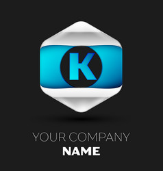 blue letter k logo in the silver-blue hexagonal vector image