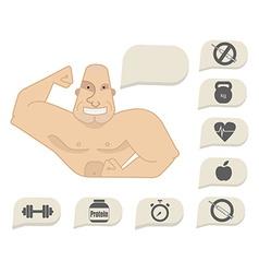 Bodybuilder torso with speech bubbles Happy face vector image