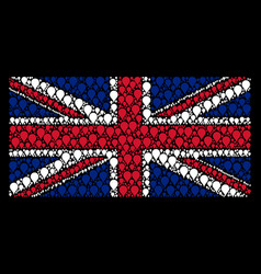 British flag mosaic of map pointer icons vector