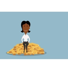 Businesswoman sitting on heap of gold bars vector image