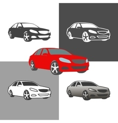 Car sedan vehicle silhouette icons colored vector