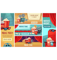 cartoon cinema banner movie night tickets vector image