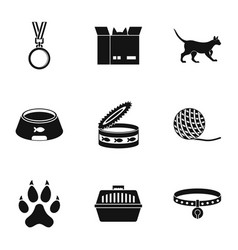 cat house icons set simple style vector image