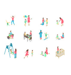 characters different nanny and children set 3d vector image