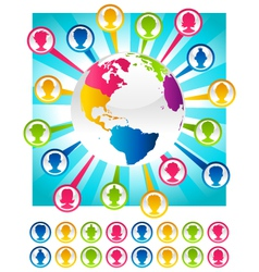 Colorful Bursting Planet and People Icons vector
