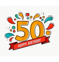 Colorful happy birthday number 50 flat line design vector