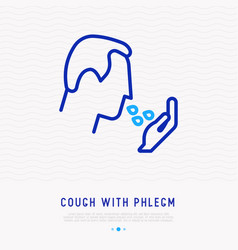 cough with phlegm thin line icon vector image