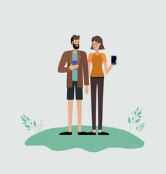 couple using smartphone characters vector image