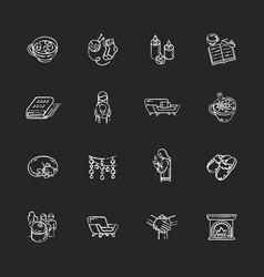 Cozy danish trend chalk white icons set on black vector
