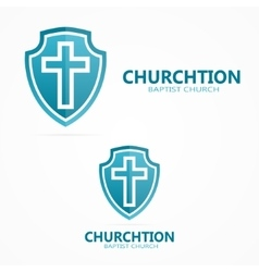 Cross on the shield church logo vector