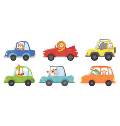 cute animals in funny cars animal driver pets vector image