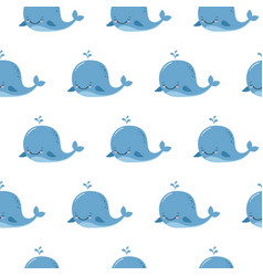 cute background with cartoon blue whales kawaii vector image