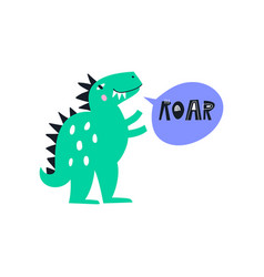 Cute dino made in dinosaur vector