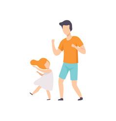 daughter and dad dancing little girl having fun vector image
