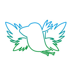 degraded line silhouette bird with exotic leaves vector image
